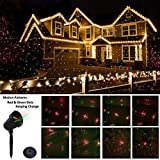 Christmas Lights Projector Outdoor,Moving Red and Green Stars Laser Lights for Christmas Decoration,Outdoor Lighting for Holiday,Party,Landscape,and Garden