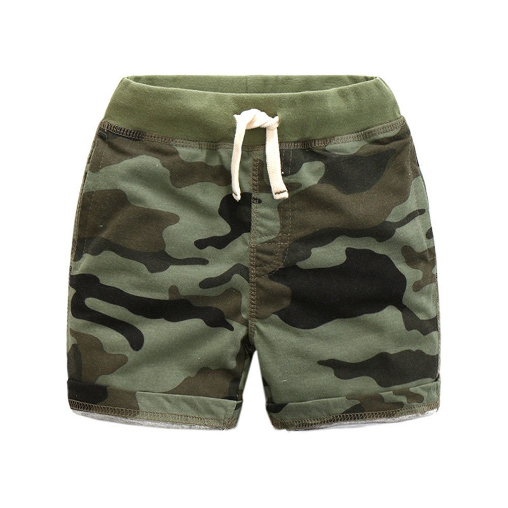 Ding Dong Kid Boy Summer Camouflage Cotton Shorts¨Green,7-8T