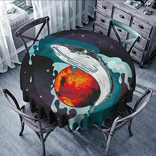 LsWOW Tablecloth Whale,Whale and Fisher Sailor Outdoor Round Tablecloth with Umbrella Hole Orange Size:D70