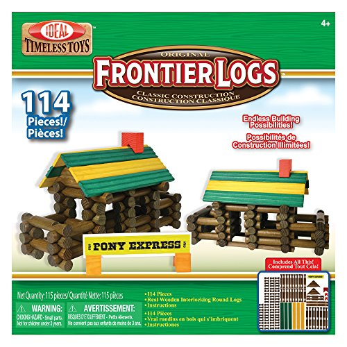 Ideal Frontier Logs 114 Piece Classic Wood Construction Set (Frontier Building Set)