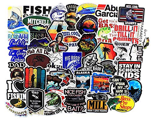 Sticker Decals 50 Pcs , Cool Funny Vinyl Go Fishing Stickers Bomb for Kids Snowboard Skateboard Laptop Car Bicycle Dirt-Bike Luggage Motorcycle Fishing Rod , - Waterproof Aesthetic Sticker Pack