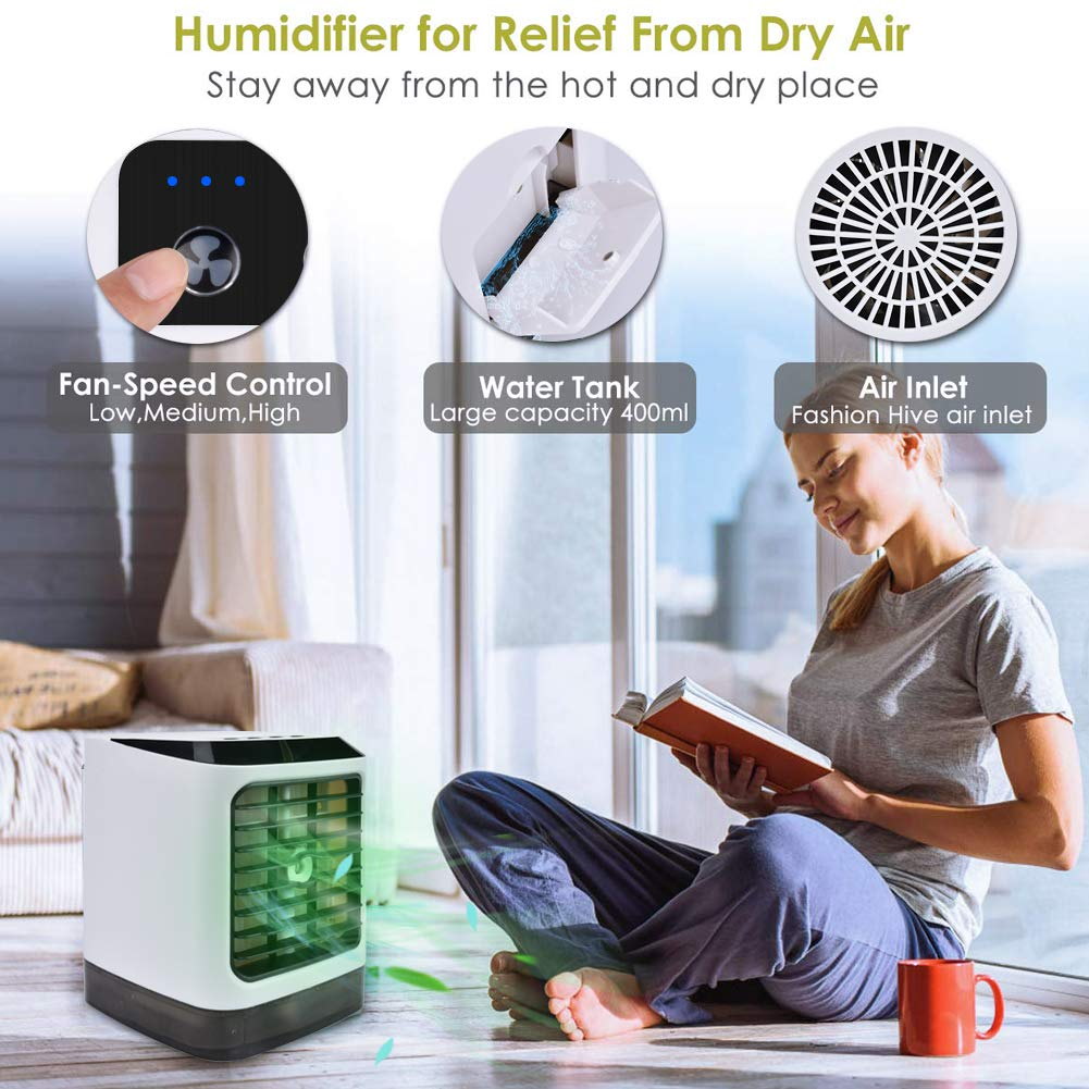 Zomiee Portable Air Cooler Fan 4 in 1 Small Personal USB Air Conditioner Mini Air Purifier Humidifier Air Cooler Desk Fan Cooling 3 Speeds 7 Colors LED Lights for Home Room Office