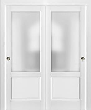 Puertas correderas de armario con herrajes | Lucia 22 blanco mate con vidrio opaco esmerilado |