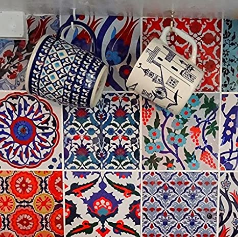 Türkische Fliesenaufkleber Für Küche Badezimmer Backsplash, Tür, Schrank,  Abnehmbare Schale Und Stick Stair Riser Abziehbild Pack Von 44 (10cm X 10cm  (Pack ...