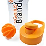 Genius Shaker Bottle, 20oz Cup with Blender Ball, Clear Orange