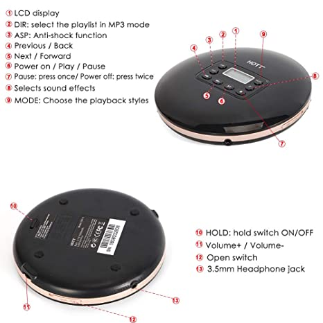 Rechargeable Portable CD Player, HOTT CD 711 Personal Compact Walkman Disc  Player with LCD Display, Stereo Earbuds and USB Charging Cable, Electronic