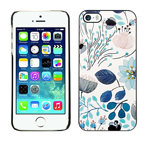 Soft Silicone Rubber Case Hard Cover Protective Accessory Compatible with Apple iPhone? 5 & 5S - spring teal blue floral pattern flowers