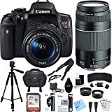 Canon EOS Rebel T6i Digital SLR Camera Kit with EF-S 18-55mm and 75-300mm Lens Bundle includes Camera, Lenses, 16GB SDHC Memory Card, Bag, Tripod, 59mm Filter Kit, Beach Camera Cloth and More