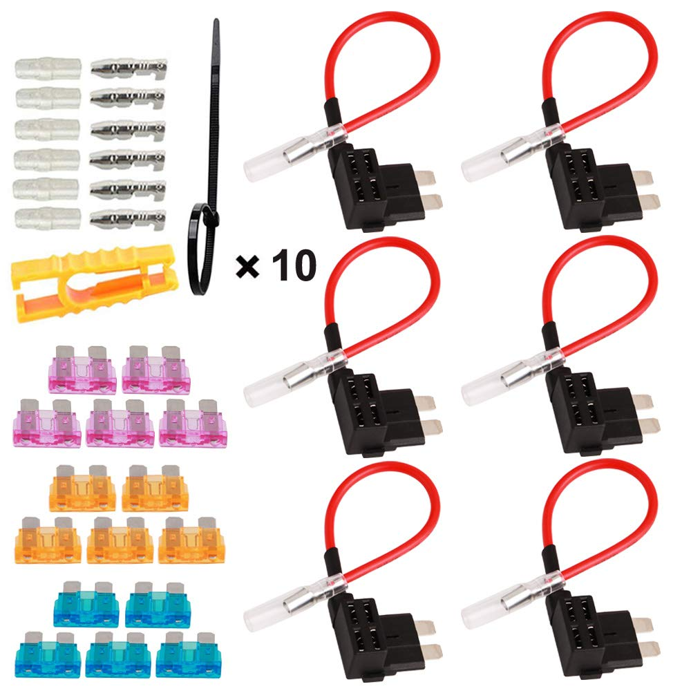 Car Add-A-Circuit Fuse Tap with Wire Harness Piggy Back Blade Fuse Holder Connector Pack of 6 TOOHUI 32V Standard Fuse Holder ACU Medium Fuse Tap with 3A//5A//15A Fuse and Fuse Puller