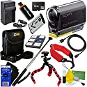 Sony HDR-AS20 Action Video Camera with Wi-Fi NFC & Full HD 1080p Video (International Version) + NP-BX1 Battery & AC/DC Charger + 10pc 32GB Dlx Accessory Kit w/ HeroFiber Cleaning Cloth