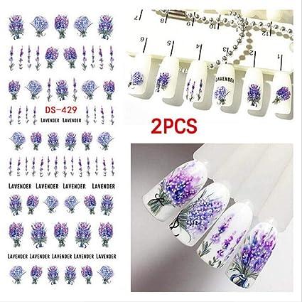QUICKLYLY Uñas/Manicura-Lavanda Diseño Nail Art Foil Stickers Transfer Decal Tips Manicure