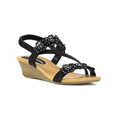 eb706dd0d18 Cushion Walk Womens Black Flower Wedge Sandal