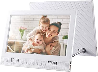 10.4 inch TFT LCD Display Multi-Media Digital Photo Frame with Music & Movie Player/Touch Control/Remote Control Function, Support USB/SD Card Input, Built in Stereo Speaker (White) Durable