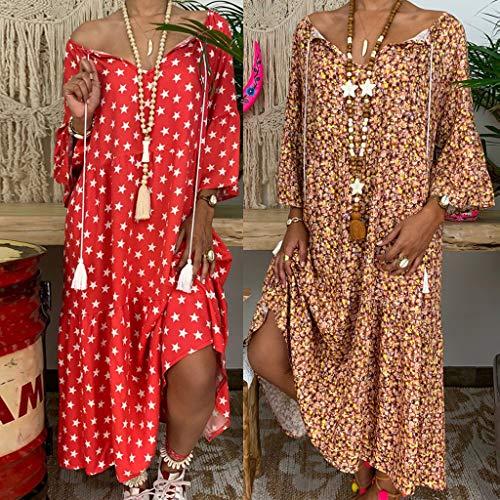 (Lemoning❀ Women's Ladies Loose Print Three Quarter Sleeve Bandage Long Dress Summer Dress)