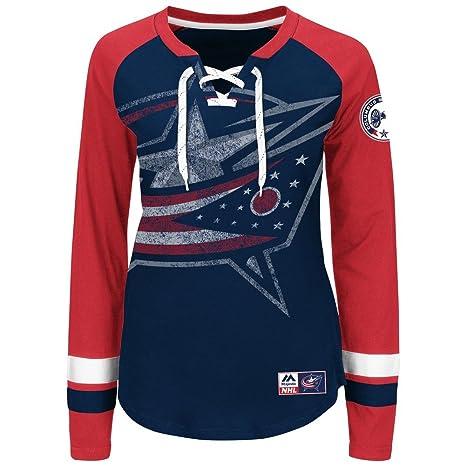NHL Columbus Blue Jackets Women s Hip Check Long Sleeve Lace-up Tee ... 4b046da9c