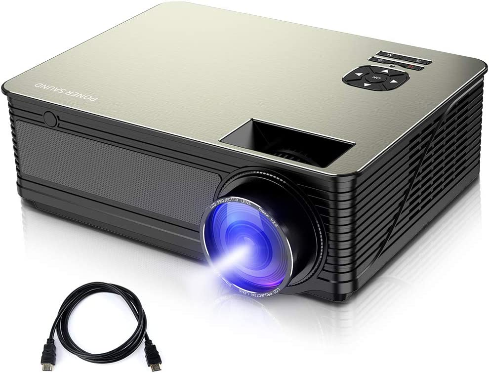 Video Projector, PONER SAUND Mini Projector 3000 Lux with 50,000 Hrs, 190 inch Home Theater Movie Projector, 1080P Supported, Compatible with Ipad, ...
