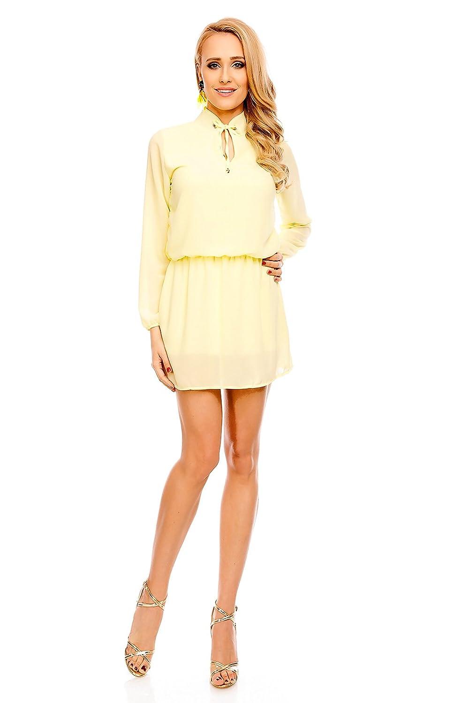 Mayaadi Damen Kleid Tunika Sommerkleid Minikleid Partykleid Ärmel Elegant Strandkleid 17001 OneSize