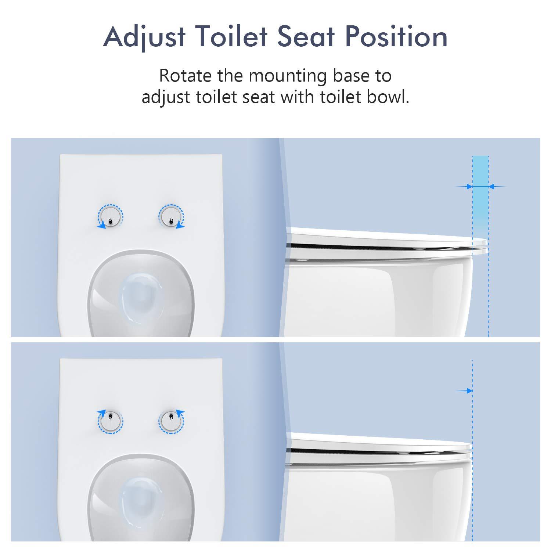 Sistema di Fissaggio Aggiustabile per una Facile Installazione e Pulizia O Forma Rotonda Sedile WC Coprivaso Tavoletta Chiusura Lenta HONBOO Copriwater con Paracolpi Antiscivoli