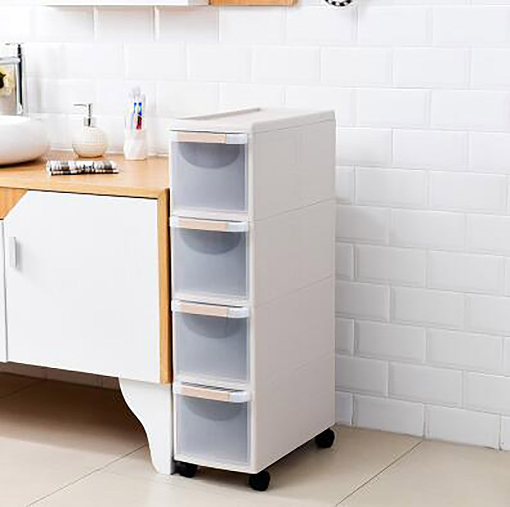 Kitchen storage rack 4 Tier Slide Out Kitchen Trolley Rack Storage Organiser Moving Wall Cabinets Tower Holder Bathroom Shelf with Wheels Kitchen Dressers & Sideboards CHUF