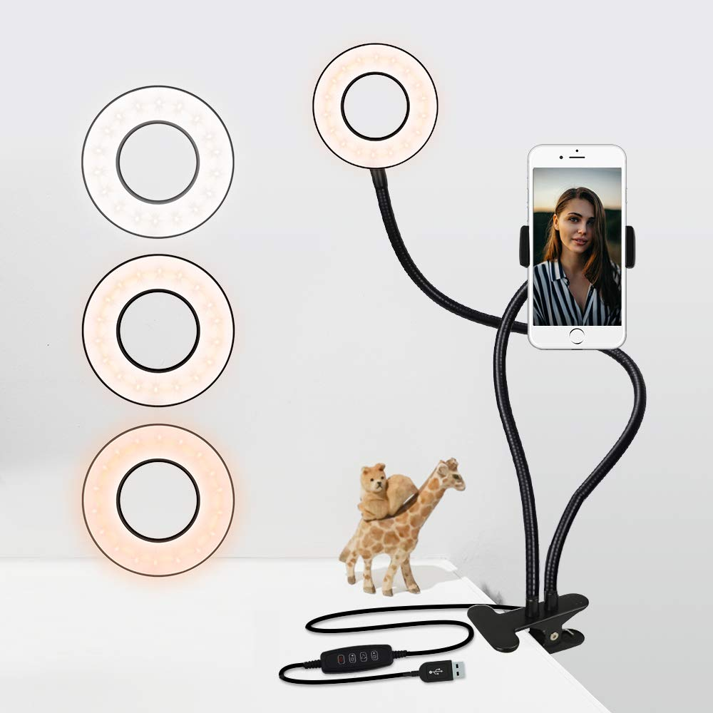 LED Selfie Ring Light with Stand & Phone Holder - Clip-on Desk Ring Light for Video Live Stream,3 Light Modes - White,Warm,Yellow by GYTF