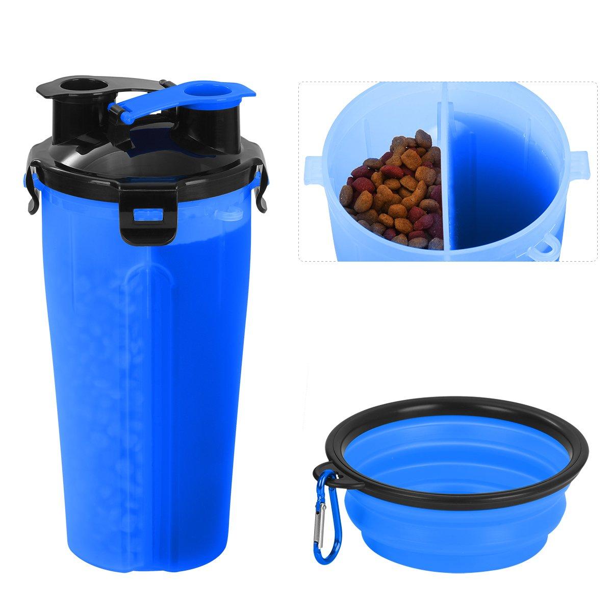 Tyhbelle Hund Trinkflasche unterwegs, Haustier trinkflasche Wasserflaschen 2 Fächer mit Zusammenklappbar Schüssel Reisenäpfe für Outdoor Reise Haustier Wasserflasche weiss