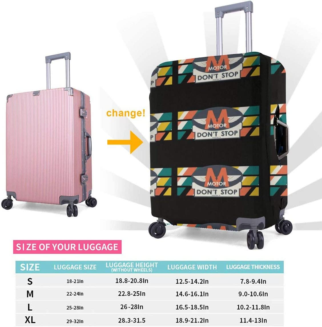 Travel Luggage Cover Spandex Suitcase Protector Bag Washable Zipper Baggage Covers Motor Dont Stop Colorful Letters Fit 18 To 32 Inch