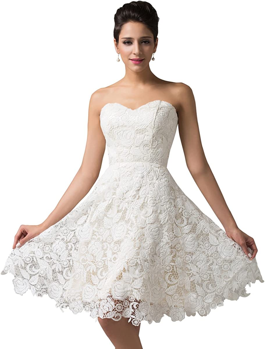 TALLA 36. GRACE KARIN Vestido Elegante para Boda Ceremonia De Vuelo Encaje Floral Precioso Maxi Marfil 36