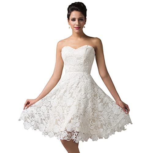 GRACE KARIN Womens Off White Lace Short Bridal Prom Gown Wedding Evening Dress