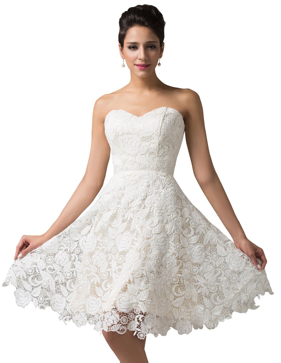 GRACE KARIN Women\'s Off White Lace Short Bridal Prom Gown Wedding ...