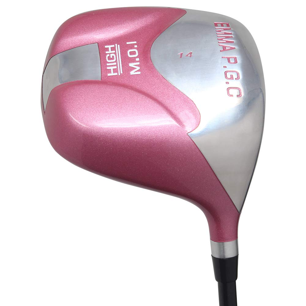 Pacific Golf Clubs Petite Women's (4'10'' to 5'3'') All Pink PGC High MOI 14° Driver Right Handed Premium Ultra Forgiving Ladies Flex Graphite Shaft Tour Pink Velvet Grip