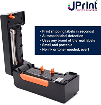 JPrint Label Printer – Commercial Grade Direct Thermal High Speed Printer – Bluetooth – Compatible with Amazon, Ebay, Etsy, Shopify – 4×6 Label Printer