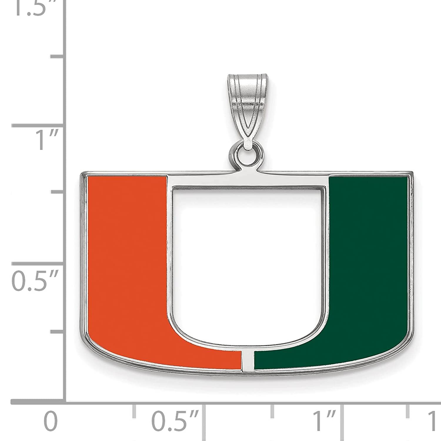 925 Sterling Silver Rhodium-plated Laser-cut University of Miami Large Enameled Pendant