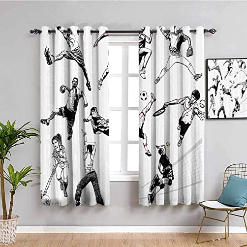 Sketchy Fabric Curtain Muscular Energetic Athlete