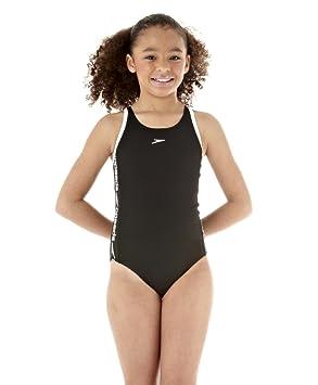 a0255fed74ac Speedo Girl s Superiority Muscleback Swimming Costume - Black White, ...