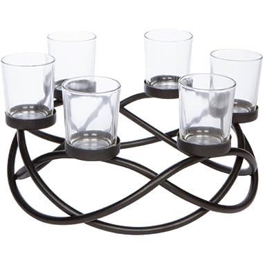 Decorative 6-cup Circular Iron Candle Holder Centerpiece