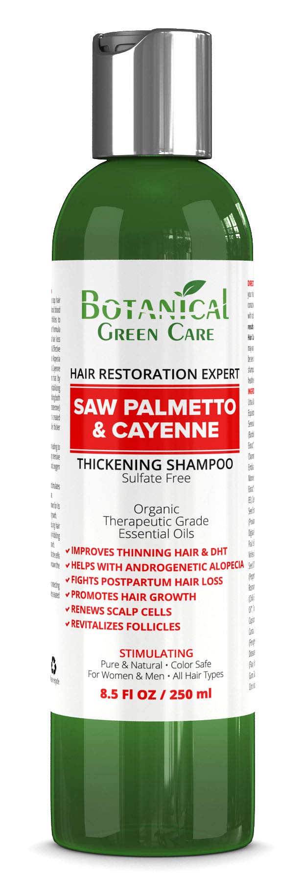 Hair Growth/Anti - Hair Loss Sulfate-Free SHAMPOO ''Saw Palmetto & Cayenne''. Alopecia Prevention and DHT Blocker. Doctor Developed. NEW 2018 FORMULA! by Botanical Green Care