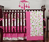 Sweet Jojo Designs Modern Pink and Lime Green Circles Baby Girl Bedding 9pc Crib Set
