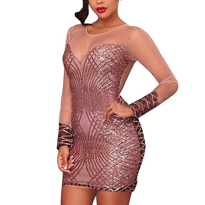 Mujer Mini Vestido - Hibote Vestidos cortos para discoteca sexy Vestidos de noche lentejuelas cuello redondo Vestido de cóctel malla manga larga: Amazon.es: ...