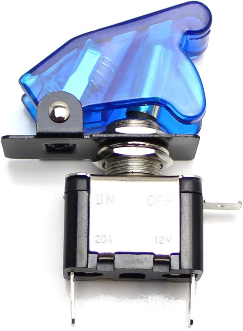 Aircraft Style 12V//20A Blue LED Light Up On//OFF SPST Toggle Switch w//Safety Flip Cover For Fog Daytime Running Light etc 2 Lightbar iJDMTOY