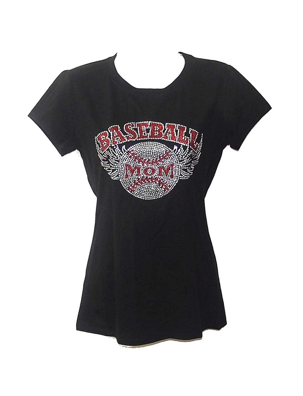 Baseball Mom Rhinestones Black T Shirt