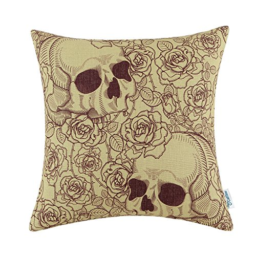 CaliTime Canvas Throw Pillow Case Shell Couch Bed Home Decoration Halloween Roses Floral Skull 18 X 18 Inches Wine Yellow