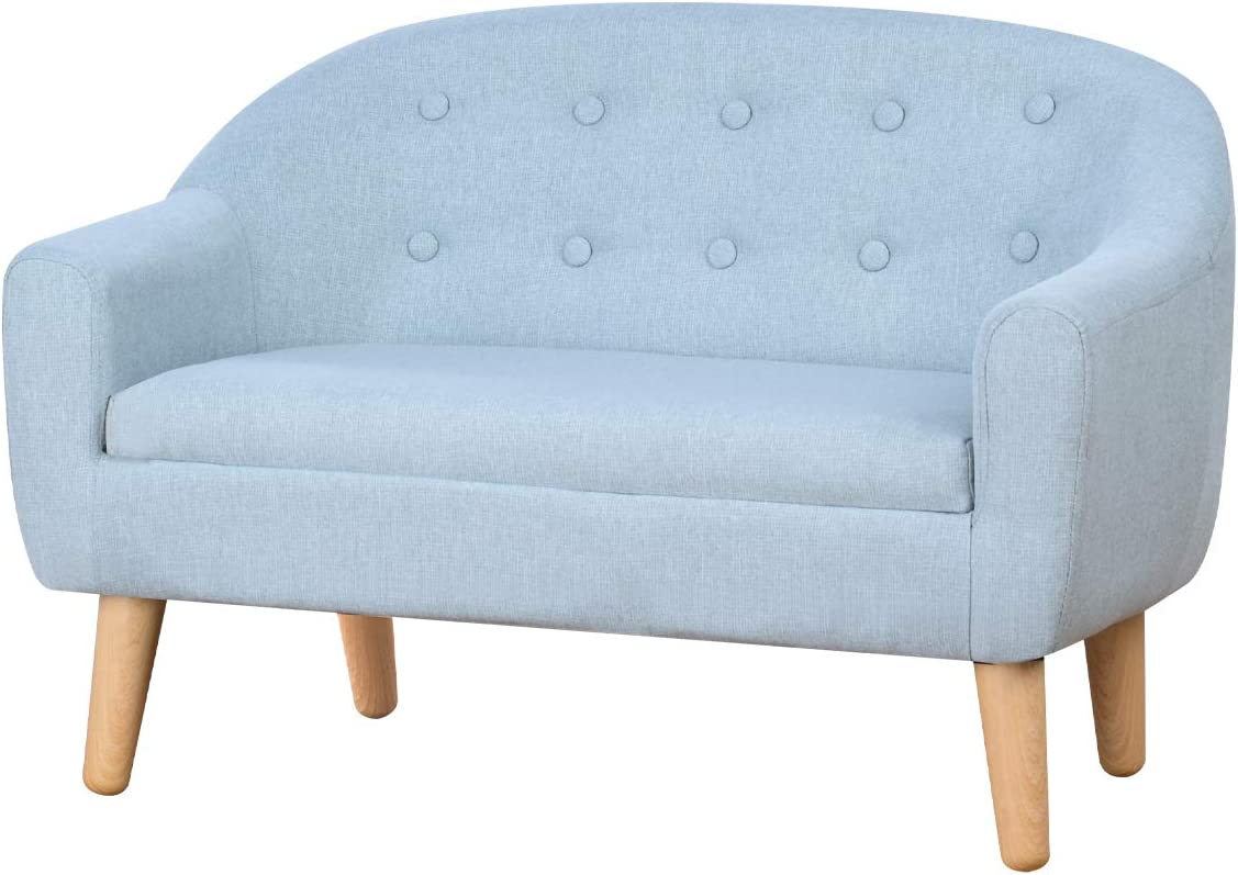 Kids Sofa,Linen Fabric 2-Seater Upholstered Couch,Perfect for Children Gift(30-Inch) (Sage)