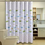 Designer Shower Curtains HOMEIDEAS Fish Designer,White Shower Curtain For Bathroom,Waterproof Polyester Fabric,72x72inch