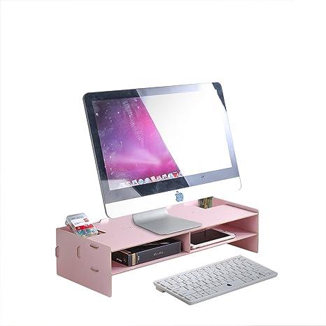 homjoy de madera soporte de monitor, DIY organizador de escritorio con 4 compartimentos para oficina