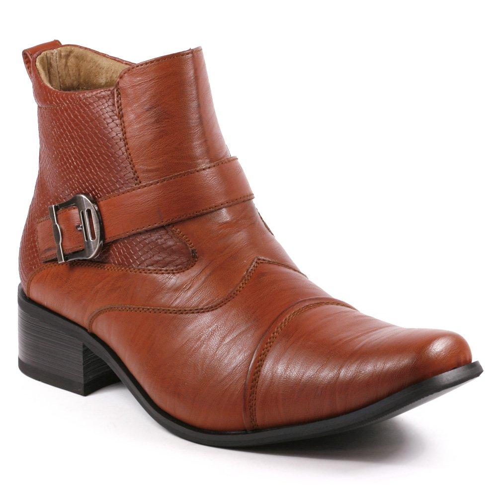 Metrocharm MET525-9 Men's Buckle Strap Western Cowboy Formal Dress Casual Fashion Boots (13, Brown)