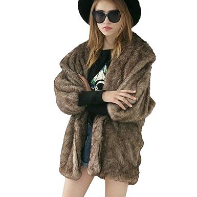 3b2d1ccdf0006 Femme Manteau d'Hiver chaud et épais en fausse fourrure chic et à la mode