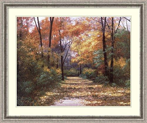 Framed Art Print 'Autumn Road' by Diane - Lake Woodlands Drive