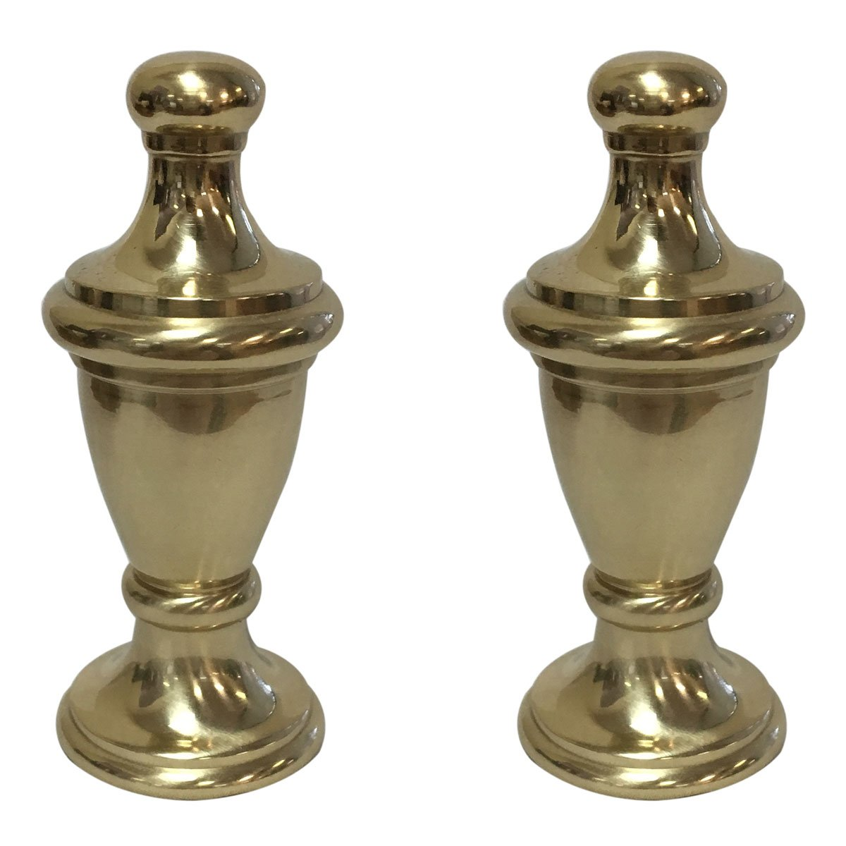 Royal Designs Simple Vase Design Lamp Finial with Polished Brass Finish - Set of 2