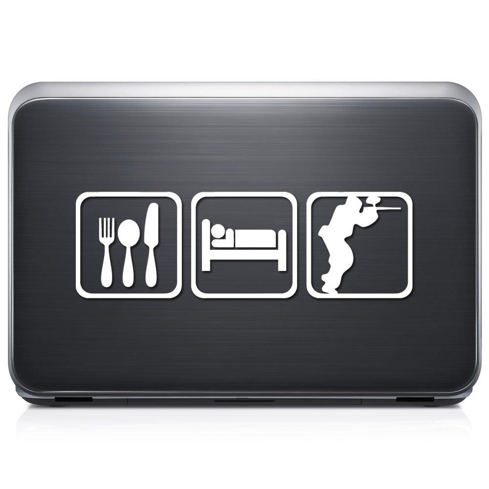 Eat SleepペイントボールShooting取り外し可能なビニールデカールステッカーforラップトップタブレットWindows壁装飾車トラックオートバイヘルメット (12 in / 30 cm) Wide RSESL123-12MWH (12 in / 30 cm) Wide グロスホワイト B0763396PD