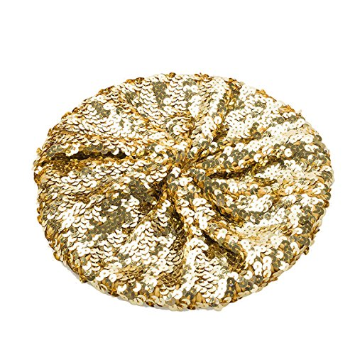 L'VOW Women's Sparkle Sequins Stretch Beret Beanie Hat (Gold)